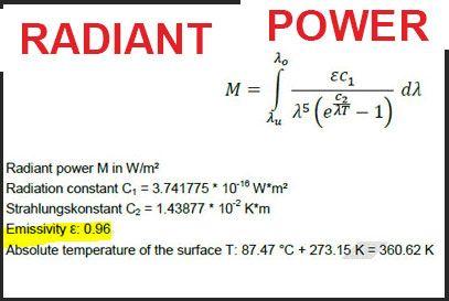 radiant power emissivity formula